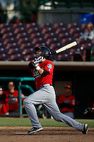 Daniel Paolini #2 of the High Desert Mavericks bats against the Inland Empire 66'ers at San Manuel Stadium on April 8, 2013 in San Bernardino, California. Inland Empire defeated High Desert, 6-2. (Larry Goren/Four Seam Images)