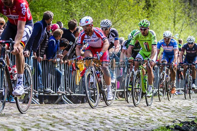 Peloton with Peter SAGAN (SVK, CAN) Luca PAOLINI (ITA, KAT)  on sector 18 Trouée d'Arenberg - Paris-Roubaix - 13th April 2014 - Photo by Thomas van Bracht / Peloton Photos