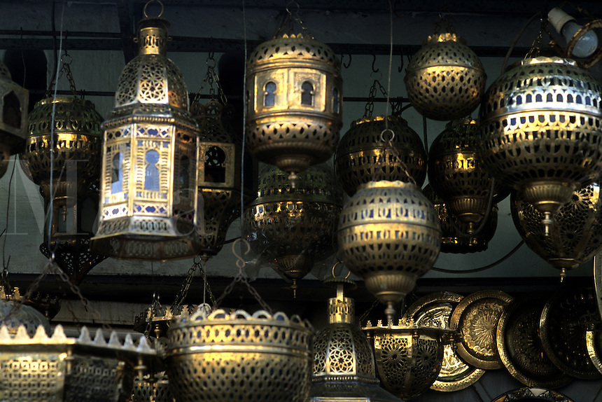 Artwork of Moroccan brass lanterns in Casablanca Morocco Africa