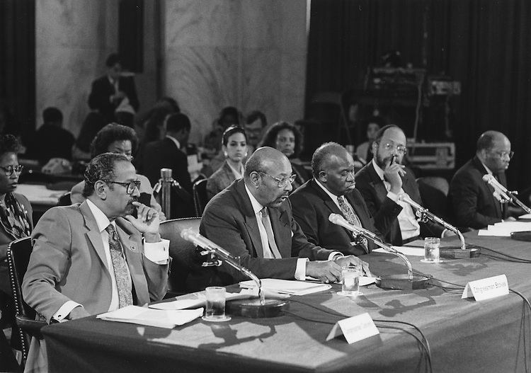 UNITED STATES: File photo - Members of the Congressional Black Caucus testify at a Senate Judiciary Committee Hearing on the Appointment of Clarence Thomas to the Supreme Court. Date unknown. (Photo courtesy of the Office of Congressman John Conyers, Jr.).