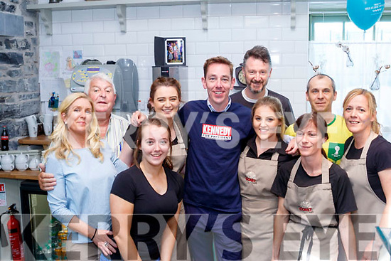 Ryan Tubridy broadcasted his radio show from Ballybunion on Wednesday in the Coast Cáfe, and pictured after were owners and staff, LR Eileen Kiely, prepriator and her dad Dan, Kerriann Williams, Molli Buckley, Ryan Tubridy, Donal Buckley (prepriator) Cliona Doyle, Sandra O'Mahony, Tomasz Karkut and Sharon Mallon.