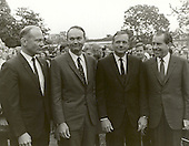 Washington, DC - (FILE) -- United States President Richard M. Nixon meets the Apollo 11 astronauts, Neil A. Armstrong, Edwin E. Aldrin,Jr., and Michael Collins, on the lawn of the White House on their return from their Global Goodwill Tour on November 5, 1969. The GIANTSTEP-APOLLO 11 Presidential Goodwill Tour emphasized the willingness of the United States to share its space knowledge. The tour carried the Apollo 11 astronauts and their wives to 24 countries and 27 cities in 45 days..Credit: NASA via CNP