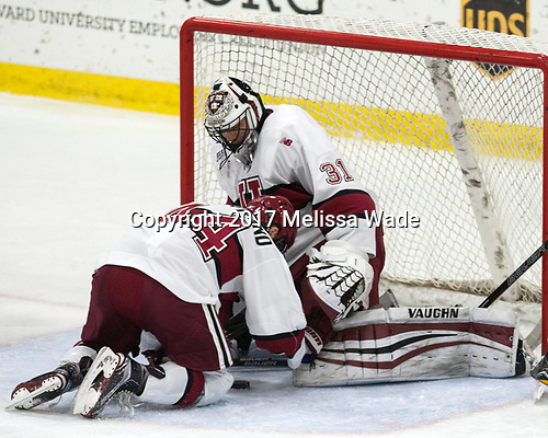 Michael Floodstrand (Harvard - 44), Merrick Madsen (Harvard - 31) - The Harvard University Crimson tied the visiting Yale University Bulldogs 1-1 on Saturday, January 21, 2017, at the Bright-Landry Hockey Center in Boston, Massachusetts.