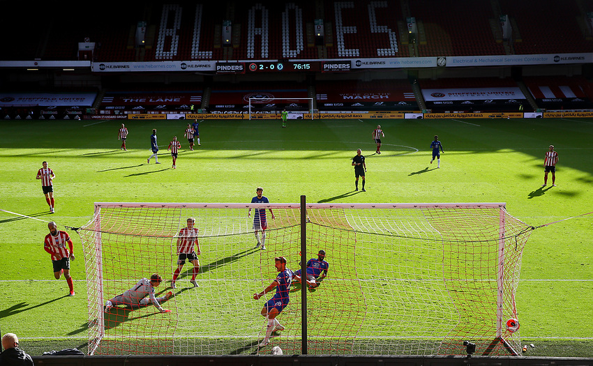 Sheffield United's David McGoldrick scores his side's third goal<br /> <br /> Photographer Alex Dodd/CameraSport<br /> <br /> The Premier League - Sheffield United v Chelsea - Saturday 11th July 2020 - Bramall Lane - Sheffield<br /> <br /> World Copyright © 2020 CameraSport. All rights reserved. 43 Linden Ave. Countesthorpe. Leicester. England. LE8 5PG - Tel: +44 (0) 116 277 4147 - admin@camerasport.com - www.camerasport.com