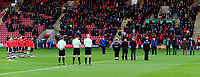 Lincoln City players observe the Silence for Armistice Day<br /> <br /> Photographer Andrew Vaughan/CameraSport<br /> <br /> The EFL Sky Bet League Two - Crewe Alexandra v Lincoln City - Saturday 11th November 2017 - Alexandra Stadium - Crewe<br /> <br /> World Copyright &copy; 2017 CameraSport. All rights reserved. 43 Linden Ave. Countesthorpe. Leicester. England. LE8 5PG - Tel: +44 (0) 116 277 4147 - admin@camerasport.com - www.camerasport.com