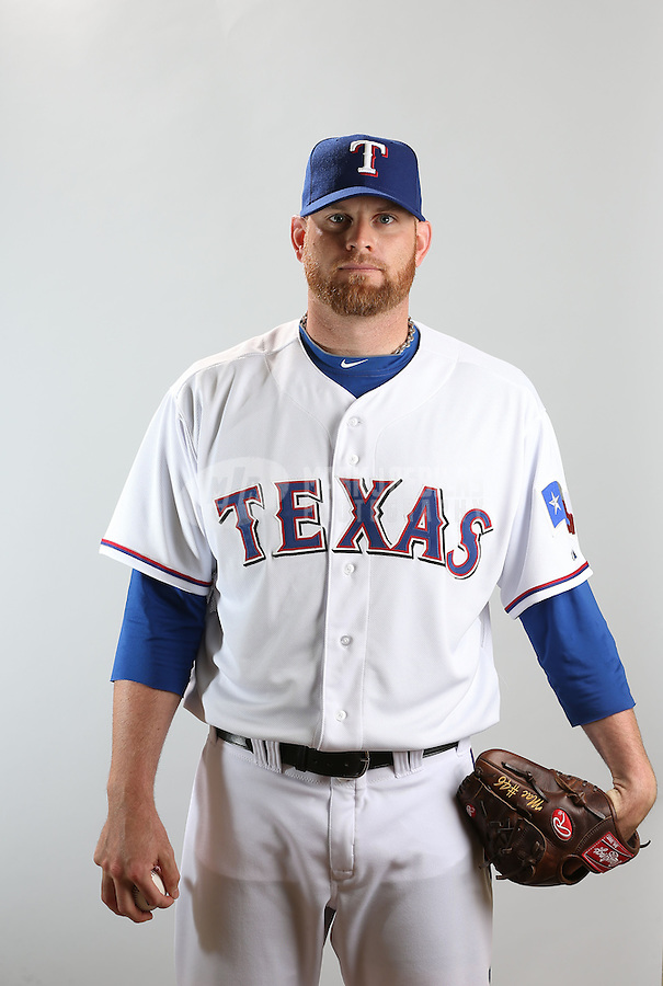 Feb. 20, 2013; Surprise, AZ, USA: Texas Rangers pitcher Kyle McClellan poses for a portrait during photo day at Surprise Stadium. Mandatory Credit: Mark J. Rebilas-