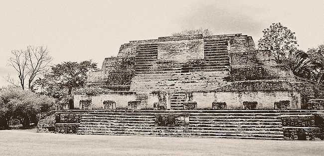 Black and white Mayan tmple in the jungle of Mexico