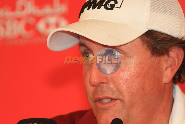 Abu Dhabi HSBC Golf Championship 2011, at the Abu Dhabi golf club 19/1/11. Masters champion Phil Mickelson speaking in the media centre after his Pro-Am round..Picture Fran Caffrey/www.golffile.ie.