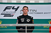F4 US Championship<br /> Rounds 19-20<br /> Circuit of The Americas, Austin, TX USA<br /> Sunday 22 October 2017<br /> Kyle Kirkwood on the podium after round 20<br /> World Copyright: Gavin Baker<br /> LAT Images