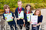 Curranes NS students at the Scríobh Leabhar competition held in the Tralee Education Centre on Monday. <br /> L to r: Alex Guerin Ryan, Ruby O'Connell, Abbie O'Donoghue and Emer Nelligan (Teacher).