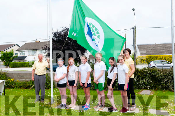 Green Flag : Peter McGrath raising the Green flag at Listowel Presentation Primary School with M/s Kay Murphy's green flag committee on Friday last.