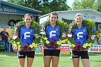 KAATSEN: ARUM: 28-07-2013, Dames Hoofdklasse wedstrijd, Joukje Kuperus, Harmke Siegersma, Feikje Bouwhuis, ©foto Martin de Jong