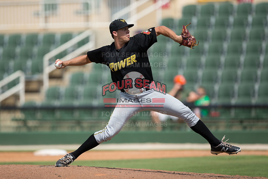 West Virginia Power relief pitcher Matt Anderson (38) in action against the Kannapolis Intimidators at Kannapolis Intimidators Stadium on June 18, 2017 in Kannapolis, North Carolina.  The Intimidators defeated the Power 5-3 to win the South Atlantic League Northern Division first half title.  It is the first trip to the playoffs for the Intimidators since 2009.  (Brian Westerholt/Four Seam Images)