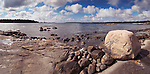 Daytime panoramic scenery of a rocky shore of Georgian Bay, Muskoka, Ontario, Canada