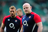 Dan Cole of England looks on during the pre-match warm-up. RBS Six Nations match between England and Ireland on February 27, 2016 at Twickenham Stadium in London, England. Photo by: Patrick Khachfe / Onside Images