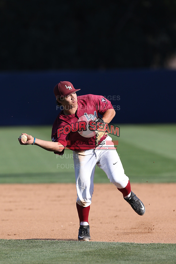 Joe Murray (43) of the Loyola Marymount Lions makes a throw during infield practice before a game against the Gonzaga Bulldogs at Page Stadium on March 27, 2015 in Los Angeles, California. Loyola Marymount defeated Gonzaga 6-5.(Larry Goren/Four Seam Images)