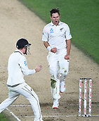 25th March 2018, Auckland, New Zealand;  New Zealand bowler Trent Boult celebrates the wicket of England captain Joe Root.<br />