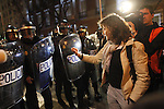 Madrid, Spain, 4/25/2013. 25A concentration for besieging Congress, who pretended camping around the parliament until the resignation of the government, riot police finally charged against protesters to disolve the concentration.