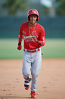 GCL Cardinals center fielder Jonathan Machado (3) rounds the bases after hitting a home run in the top of the first inning during a game against the GCL Mets on July 23, 2017 at Roger Dean Stadium Complex in Jupiter, Florida.  GCL Cardinals defeated the GCL Mets 5-3.  (Mike Janes/Four Seam Images)