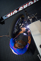 May 17, 2015; Commerce, GA, USA; NHRA top fuel driver Richie Crampton welds the chassis in the pits during the Southern Nationals at Atlanta Dragway. Mandatory Credit: Mark J. Rebilas-USA TODAY Sports