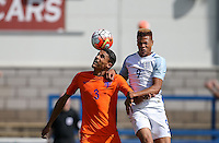 Daniljo Doekhl (Ajax) of Holland  clears from Lukas Nmecha (Manchester City) of England U19 during the International match between England U19 and Netherlands U19 at New Bucks Head, Telford, England on 1 September 2016. Photo by Andy Rowland.