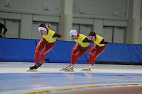 SCHAATSEN: SALT LAKE CITY: Utah Olympic Oval, 12-11-2013, Essent ISU World Cup, training, Ferre Spruyt (BEL), Wannes van Praet (BEL), Maarten Swings (BEL), ©foto Martin de Jong