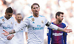 Sergio Ramos of Real Madrid reacts during the La Liga 2017-18 match between Real Madrid and FC Barcelona at Santiago Bernabeu Stadium on December 23 2017 in Madrid, Spain. Photo by Diego Gonzalez / Power Sport Images