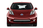 Car photography straight front view of a 2017 Nissan LEAF S 5 Door Hatchback Front View