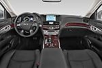 Stock photo of straight dashboard view of a 2015 Infiniti Q70 Base 4 Door Sedan Dashboard