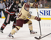 Cody Ferriero (NU - 79), Danny Linell (BC - 10) - The Boston College Eagles defeated the Northeastern University Huskies 6-3 for their fourth consecutive Beanpot championship on Monday, February 11, 2013, at TD Garden in Boston, Massachusetts.