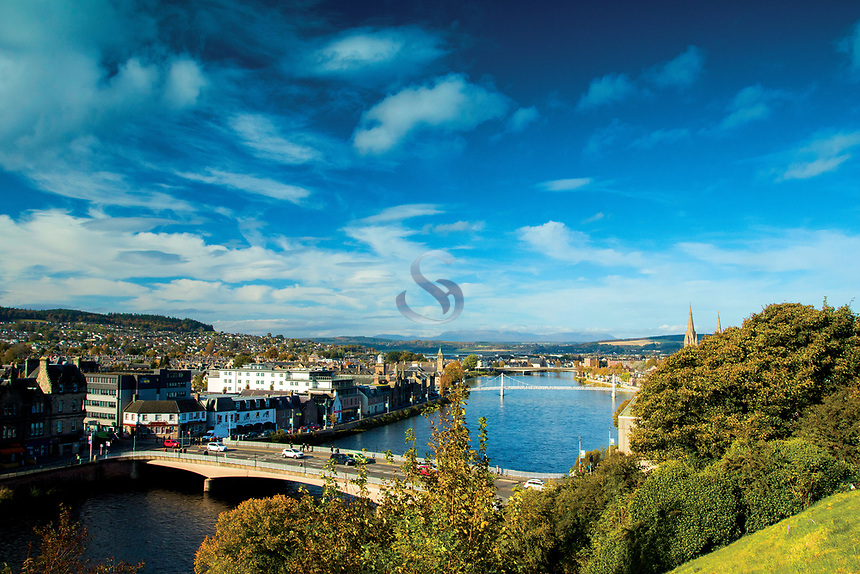 Inverness and the River Ness from Inverness Castle, Highland