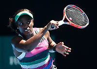 14th January 2019, Melbourne Park, Melbourne, Australia; Australian Open Tennis, day 1; <br /> Sloane Stephens of USA returns  the ball in the match against Taylor Townsend of USA