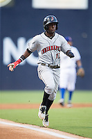 Alen Hanson (13) of the Indianapolis Indians hustles down the third base line against the Durham Bulls at Durham Bulls Athletic Park on August 4, 2015 in Durham, North Carolina.  The Indians defeated the Bulls 5-1.  (Brian Westerholt/Four Seam Images)