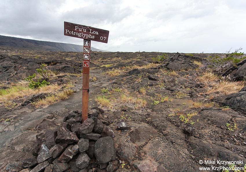 Pu'u Loa Petroglyphs sign along trail in Hawaii Volcanoes National Park, Big Island, Hawaii