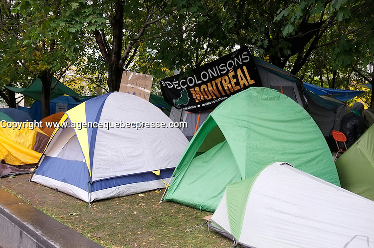 Montreal (Qc) CANADA - October 17 2011 -Protesters tent in Square Victoria financialm district of Montreal.Les Indignes