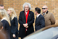 "Pictured: Bryan May of rock band The Queen at Aberavon Beach Hotel, Wales, UK. Monday 08 October 218<br /> Re: A grieving father will mourners on horseback at the funeral of his ""wonderful"" son who killed himself after being bullied at school.<br /> Talented young horse rider Bradley John, 14, was found hanged in the school toilets by his younger sister Danielle.<br /> Their father, farmer Byron John, 53, asked the local riding community to wear their smart hunting gear at Bradley's funeral.<br /> Police are investigating Bradley's death at the 500-pupils St John Lloyd Roman Catholic school in Llanelli, South Wales.<br /> Bradley's family claim he had been bullied for two years after being diagnosed with Attention Deficit Hyperactivity Disorder.<br /> He went missing during lessons and was found in the toilet cubicle by his sister Danielle, 12."