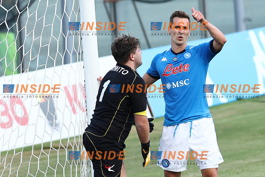 Arkadiusz Milik of SSC Napoli gestures<br /> during the friendly football match between SSC Napoli and Castel di Sangro Cep 1953 at stadio Patini in Castel di Sangro, Italy, August 28, 2020. <br /> Photo Cesare Purini / Insidefoto