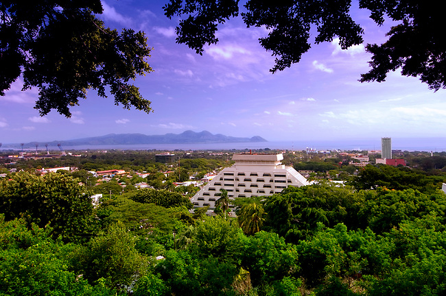 Elevated view of Managua Lake and the city of Managua, Nicaragua.