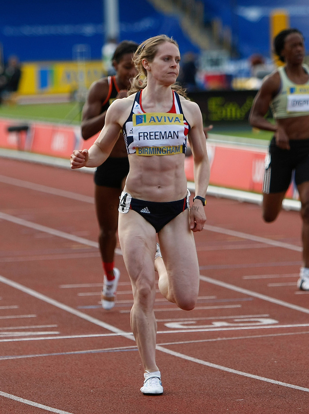 Photo: Steve Bond/Richard Lane Photography..Aviva World Trials & UK Championships athletics. 12/07/2009. Emily Freeman eases up after winning the women's 200m..