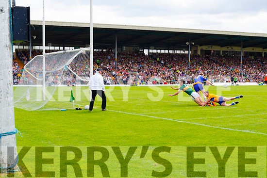 David Clifford Fossa Kerry in action against Eamon Tubridy Clare during the Munster GAA Football Senior Championship semi-final match between Kerry and Clare at Fitzgerald Stadium in Killarney on Sunday.