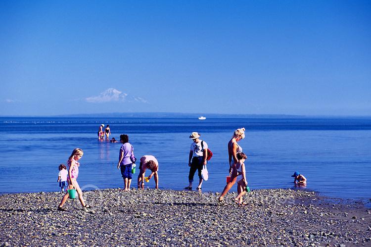 Summer Recreational Activities along Pacific Ocean, Boundary Bay Regional Park, Delta, BC, British Columbia, Canada - Families playing on Sandy Beach - Mount Baker, Washington, USA on Horizon