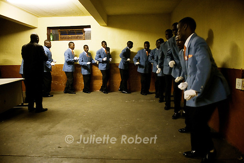 A competition of Isicathamiya, a traditional zulu musical genre, at the Jeppe Hostel in Johannesburg, South Africa. April 2009