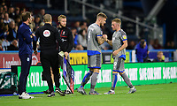 Lincoln City's Michael O'Connor, left, replaces Lincoln City's Joe Morrell during the second half<br /> <br /> Photographer Chris Vaughan/CameraSport<br /> <br /> The Carabao Cup First Round - Huddersfield Town v Lincoln City - Tuesday 13th August 2019 - John Smith's Stadium - Huddersfield<br />  <br /> World Copyright © 2019 CameraSport. All rights reserved. 43 Linden Ave. Countesthorpe. Leicester. England. LE8 5PG - Tel: +44 (0) 116 277 4147 - admin@camerasport.com - www.camerasport.com