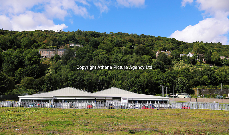 Pictured: Rear view of the affected houses (TOP LEFT). Thursday 31 August 2017<br /> Re: Home owners and tennants have been served to evacuation orders by Neath Port Talbot County Council over fears that a landslip has made their houses unsafe in Cyfyng Road, Ystalyfera, Wales, UK.