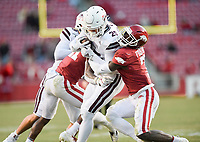 NWA Democrat-Gazette/CHARLIE KAIJO Arkansas defensive back Joe Foucha (7) tackles Mississippi State tight end Brad Cumbest (25), Saturday, November 2, 2019 during the fourth quarter of a football game at Donald W. Reynolds Razorback Stadium in Fayetteville. Visit nwadg.com/photos to see more photographs from the game.