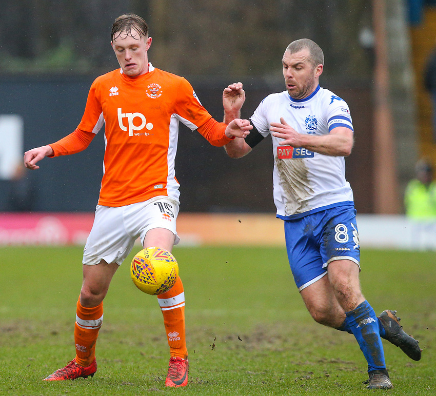 Blackpool's Sean Longstaff battles with Bury's Stephen Dawson<br /> <br /> Photographer Alex Dodd/CameraSport<br /> <br /> The EFL Sky Bet League One - Bury v Blackpool - Saturday 3rd February 2018 - Gigg Lane - Bury<br /> <br /> World Copyright &copy; 2018 CameraSport. All rights reserved. 43 Linden Ave. Countesthorpe. Leicester. England. LE8 5PG - Tel: +44 (0) 116 277 4147 - admin@camerasport.com - www.camerasport.com