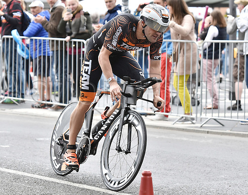 03.07.2016. Frankfurt, Germany.  Bas Diederen (The Netherlands) in the cycling leg of the Ironman event in Frankfurt, Germany, 03 July 2016. At the 15th Ironman Frankfurt more than 3,000 athletes from over 60 nations are competing. In addition to the overall victory and the titles of European Champion and German Champion over long distance events will also be awarded.