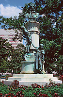 "New Orleans:  McDonogh  Monument, Lafayette Square, 2nd oldest park in New Orleans.  John McDonogh  left a public endowment upon his death to create public schools for the ""education of the poor of all castes and races. """