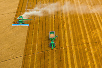 Aerial view of combines working during the wheat harvest, Schields & Sons Farming, Goodland, Kansas USA.