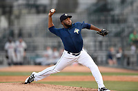 Pitcher Adonis Uceta (30) of the Columbia Fireflies delivers a pitch in a game against the Rome Braves on Sunday, July 2, 2017, at Spirit Communications Park in Columbia, South Carolina. Columbia won, 3-2. (Tom Priddy/Four Seam Images)